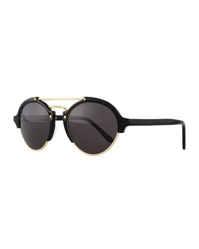 1f9745089c Illesteva Milan Ii Semi-Rimless Round Polarized Sunglasses In Black Gold