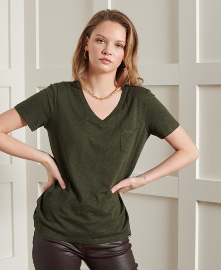 Superdry The Scripted V-neck T-shirt In Khaki