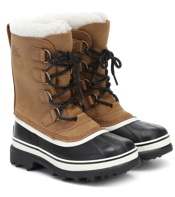 Sorel Caribou Shearling And Nubuck Snow Boots In Brown