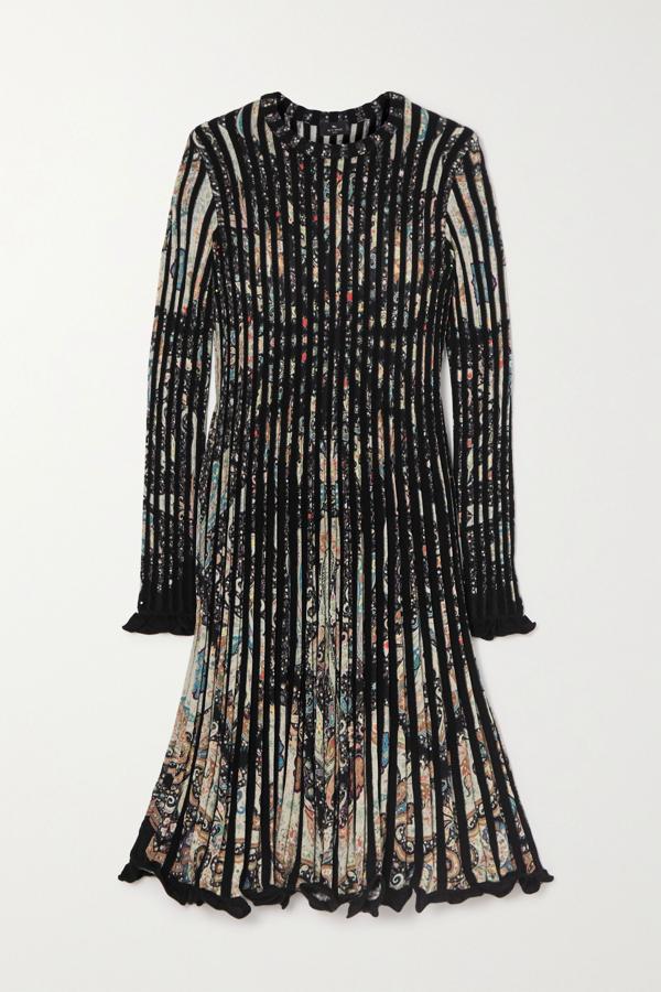 Etro Paisley Print Rib Long Sleeve Sweater Dress In Black