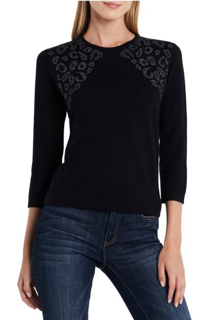 Vince Camuto Stud Shoulder Animal Jacquard Sweater In Rich Black