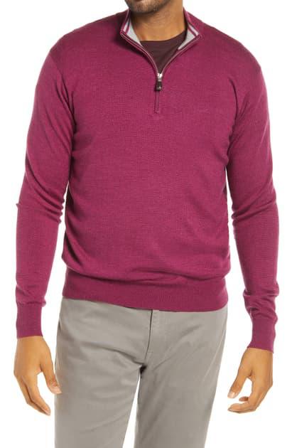Peter Millar Crown Quarter Zip Sweater In Pomegranate