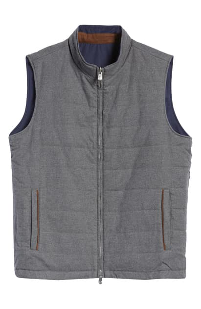 Peter Millar Reversible Stretch Cotton Flannel Vest In Charcoal