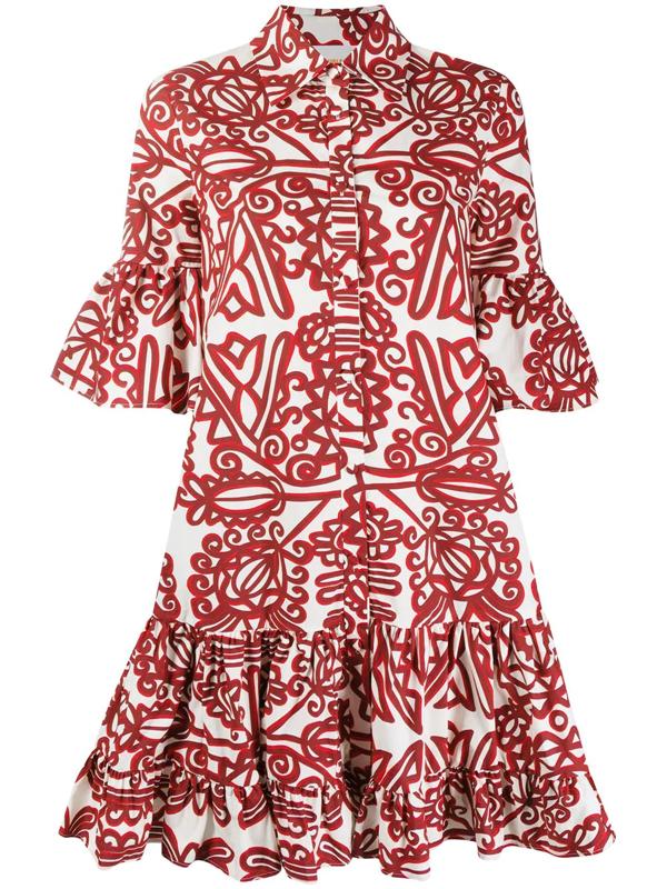 La Doublej Choux Ruffled Printed Cotton Mini Dress In Neutrals