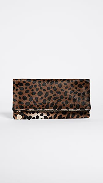 Clare V Genuine Calf Hair Leopard Print Foldover Clutch
