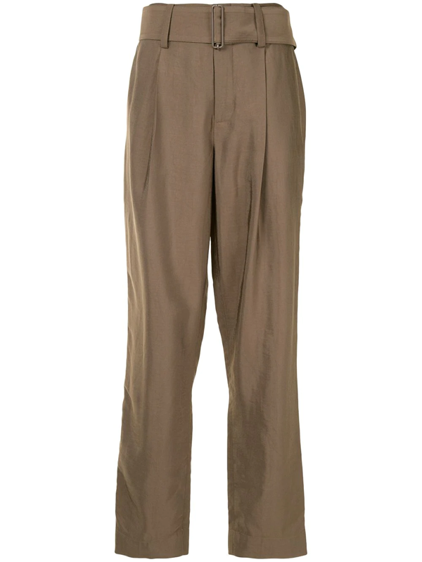 Vince Belted High Waist Tapered Pants In Brown