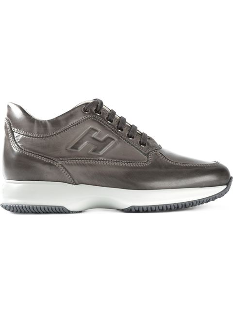 Hogan Leather Interactive Sneakers In Grey