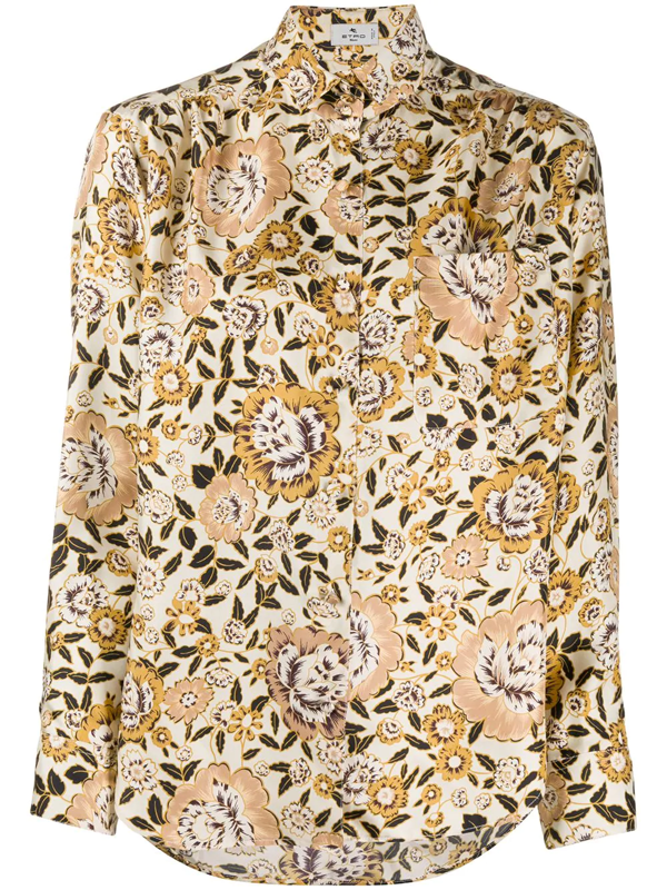 Etro Floral Printed Silk Twill Shirt In Yellow