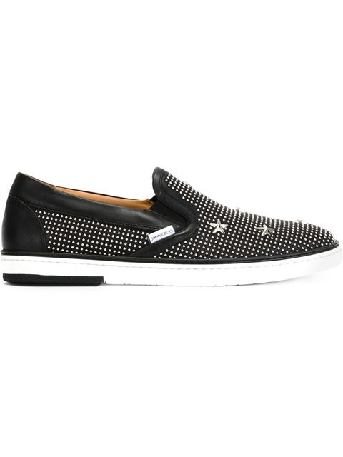 Jimmy Choo Grove Black Soft Calf With Stars And Studs Slip On Sneakers In Black/silver