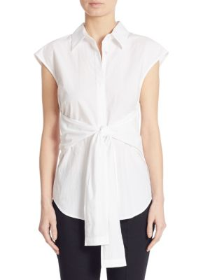 f4f1f8a4e0e T By Alexander Wang Woman Tie-Front Cotton-Poplin Shirt White | ModeSens