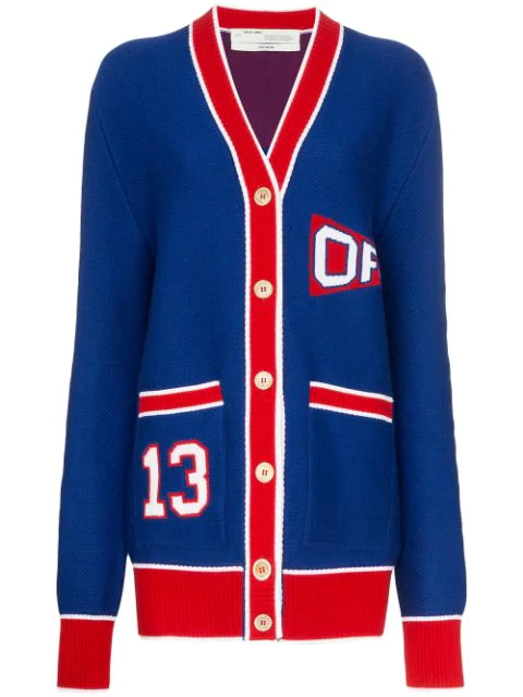 Off-white University Flag Wool Blend Knit Cardigan In Blue