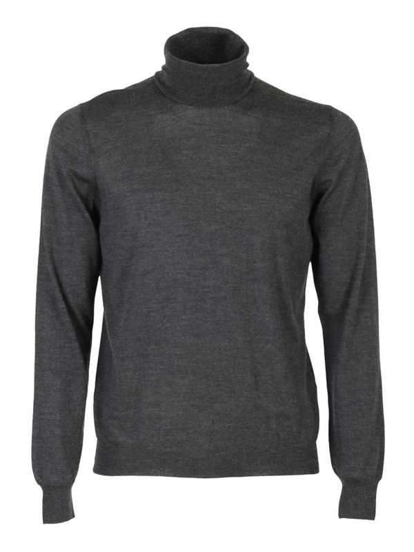 Tagliatore Solid Color Turtleneck Cutter In Combed Virgin Wool In Grey