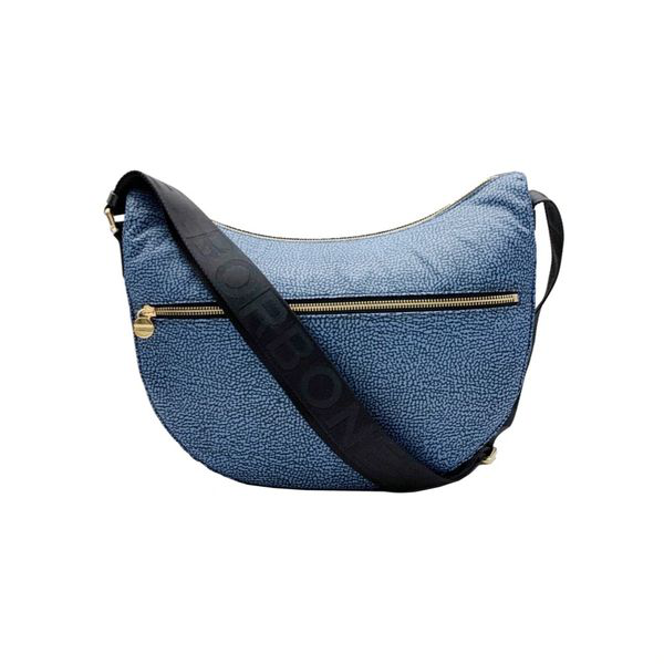 Borbonese Blue Medium Half-moon Shoulder Bag