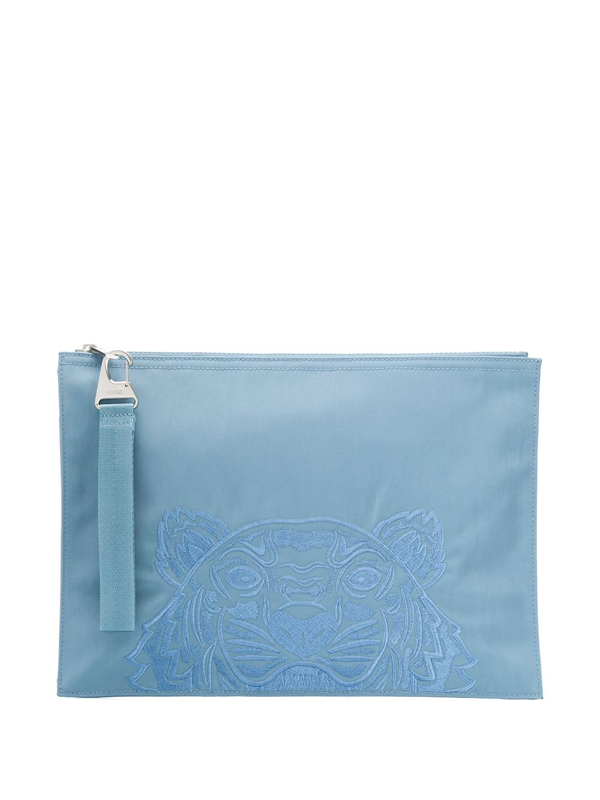 Kenzo Tiger Embroidered Pouch Bag In Blue