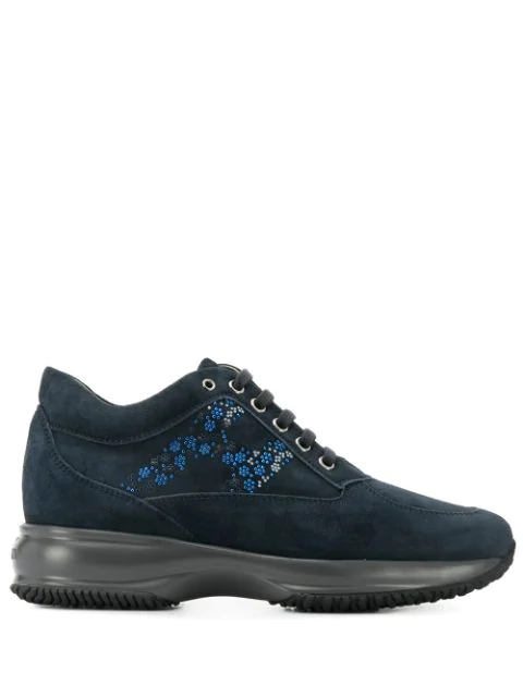 Hogan Interactive Blue Suede Floral H Sneakers In 1001 Notte+ Blu Demin Scuro
