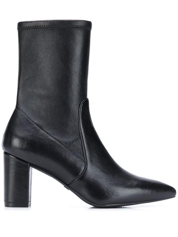 Stuart Weitzman Women's S2716blk Black Leather Ankle Boots