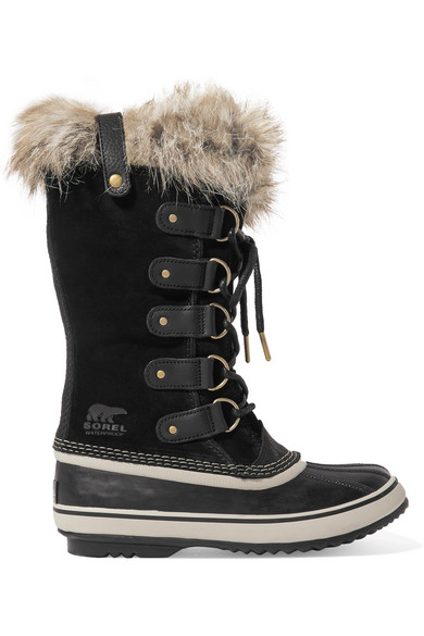 Sorel Joan Of Arctic Faux Fur-Trimmed Waterproof Suede And Rubber Boots In Black