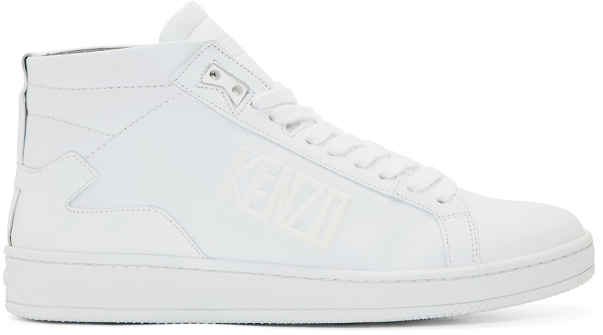 Kenzo White Leather Tears High-top Sneakers