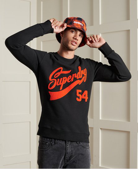 Superdry Limited Edition College Chenille-sweatshirt In Black
