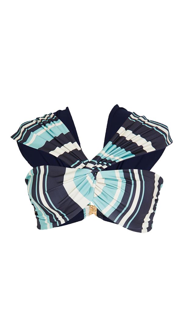 Juan De Dios Iris Striped Bikini Top In Blue Stripes/dark Blue