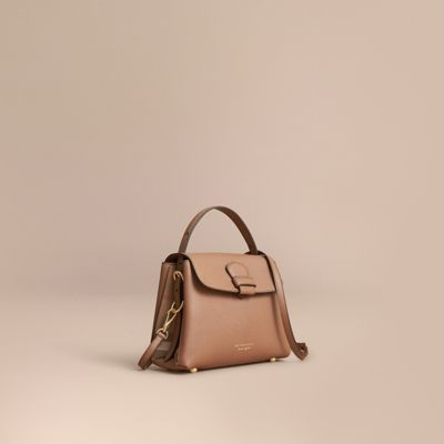 28a47e426d88 Burberry Small Grainy Leather And House Check Tote Bag In Dark Sand ...