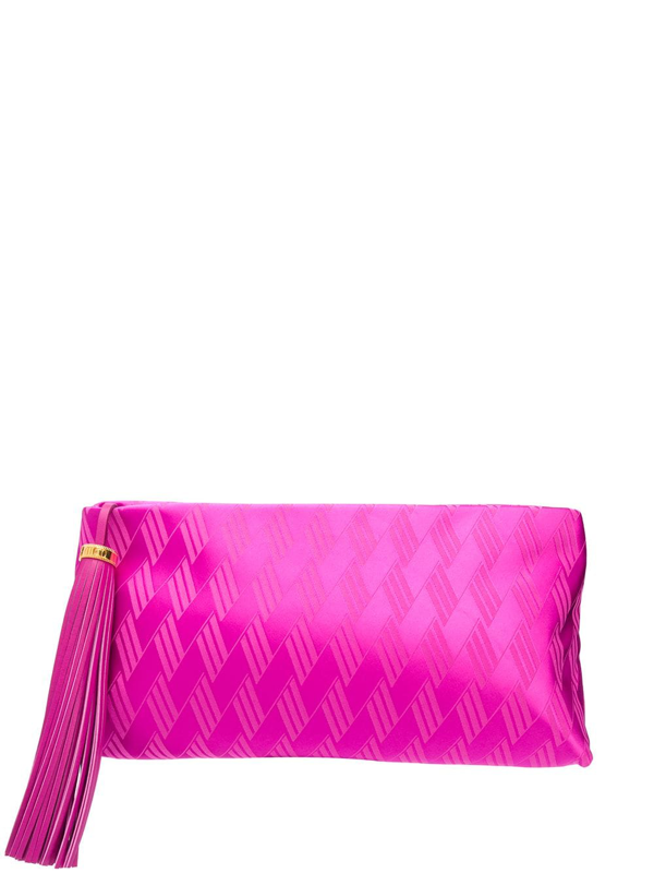 Attico Textured Zip-up Clutch Bag In Pink