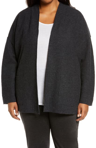 Eileen Fisher Lightweight Boiled Wool Jacket In Char
