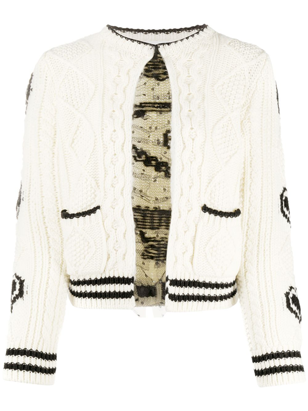 Red Valentino Redvalentino Jacquard Cable Knit Cardigan In White