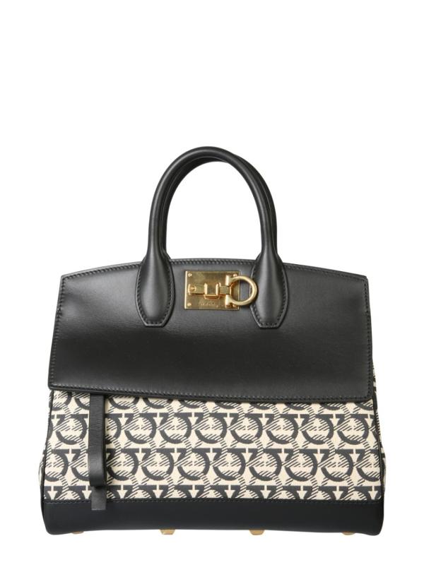 Salvatore Ferragamo Gancini Medium Beige/black Leather Handbag