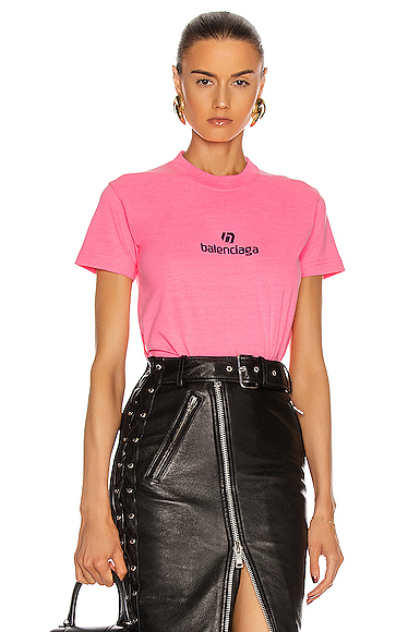 Balenciaga Short Sleeve Small Fit T Shirt In Pink & Purple