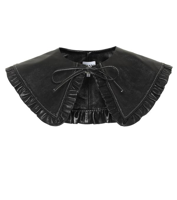 Ganni Ruffle Lamb Leather Collar In Black
