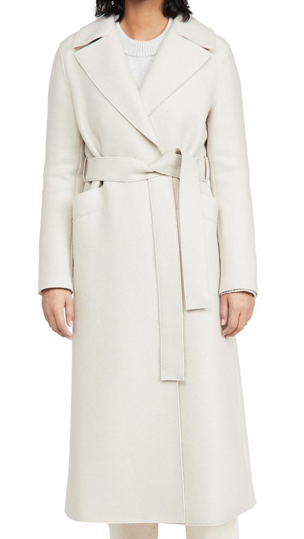 Harris Wharf London Polaire Long Maxi Coat In Cream