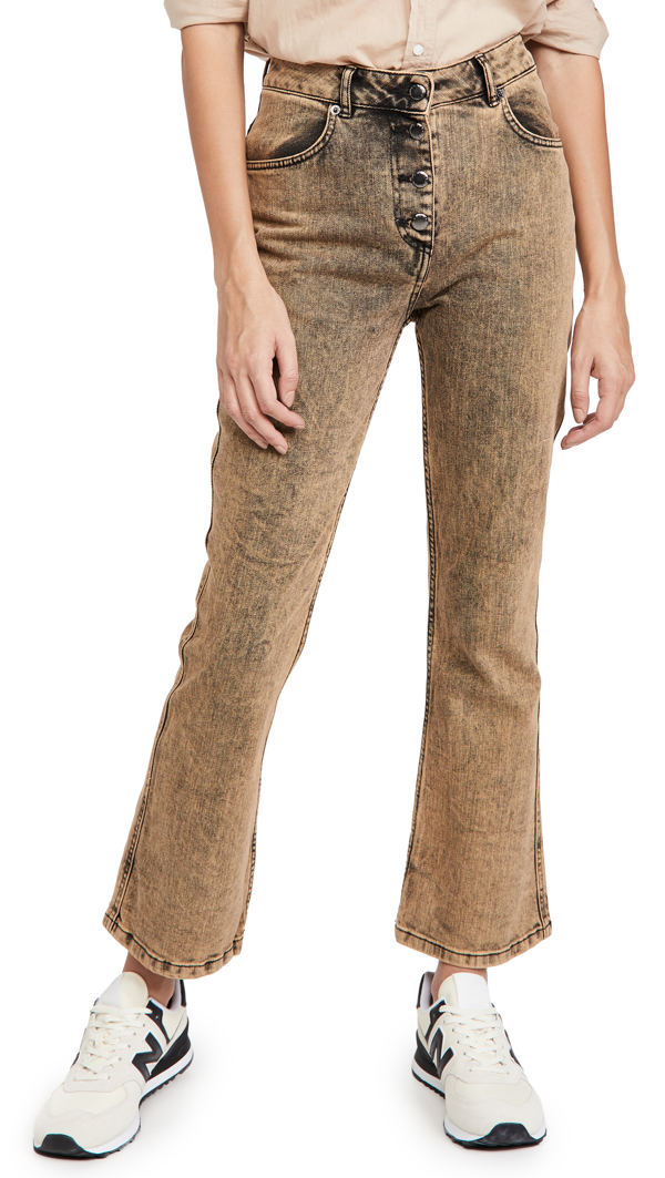 Eckhaus Latta Kick Flare Jeans In Khaki Acid