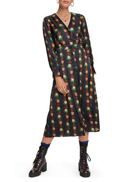 Scotch & Soda Floral Print Long Sleeve Midi Dress In Combo A