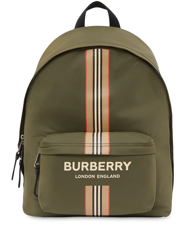 Burberry Logo And Icon Stripe Backpack In Green