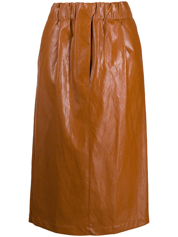 Jejia Faux Leather Midi Skirt In Brown
