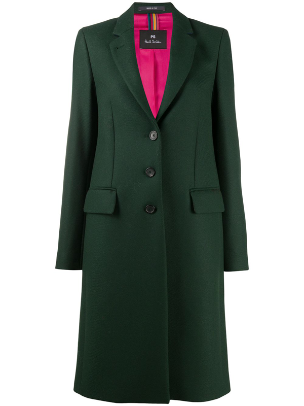 Ps By Paul Smith Epsom Fitted Coat In Green