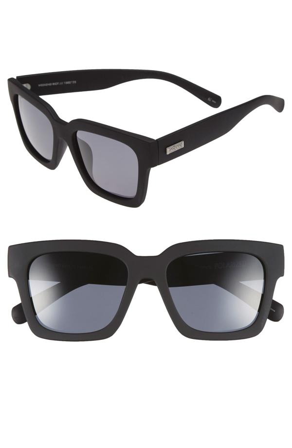 Le Specs 'weekend Riot' 55mm Sunglasses In Black Rubber/ Smoke Mono Polar