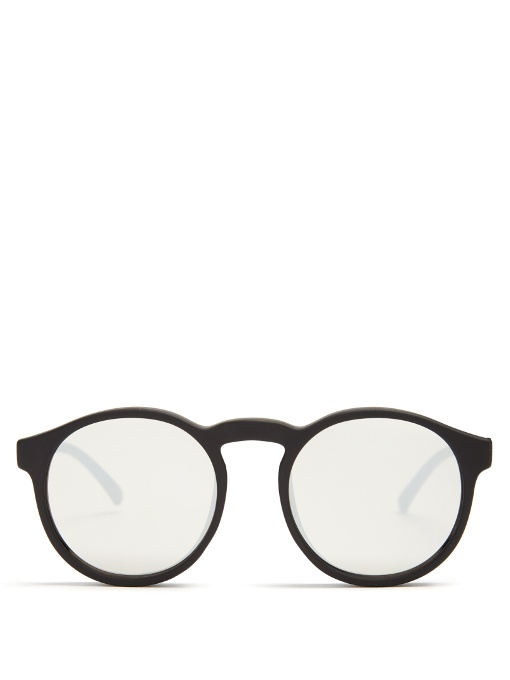 5cf53448ae1 Le Specs Cubanos Round-Frame Mirrored Sunglasses In Matte-Black ...
