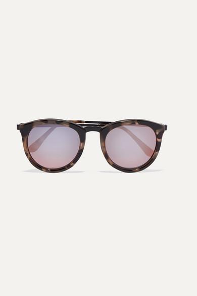 Le Specs No Smirking Round-frame Acetate Mirrored Sunglases In Tortoiseshell