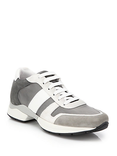 Tod's Suede & Leather Sport Sneakers In Grey-White
