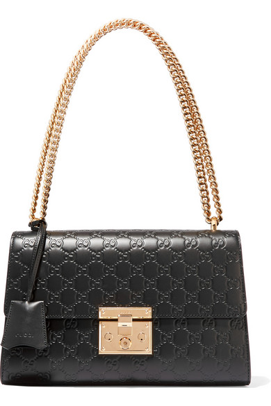 be2aba32f Gucci Padlock Gg Medium Leather Shoulder Bag, Black In 1000 Black ...