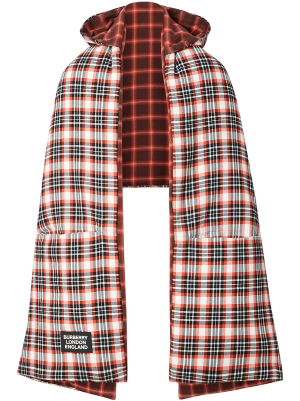 Burberry Reversible Tartan Cotton Puffer Poncho In Red