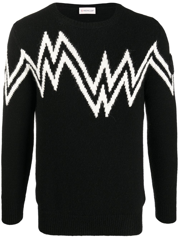 Moncler Logo Wool Blend Knit Sweater In Black