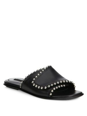 0295ec1fdd9 Leidy Studded Leather Flat Slide Sandal, Black