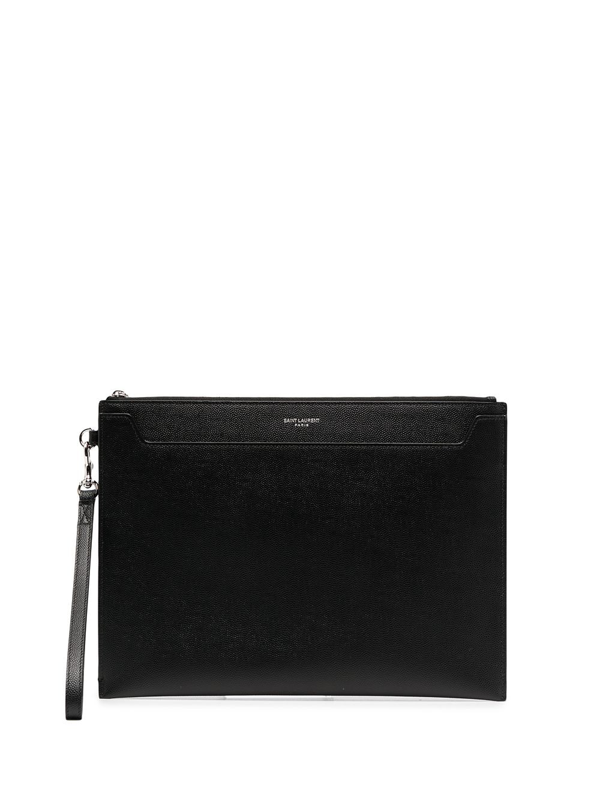 Saint Laurent Leather Ipad Holder In Black