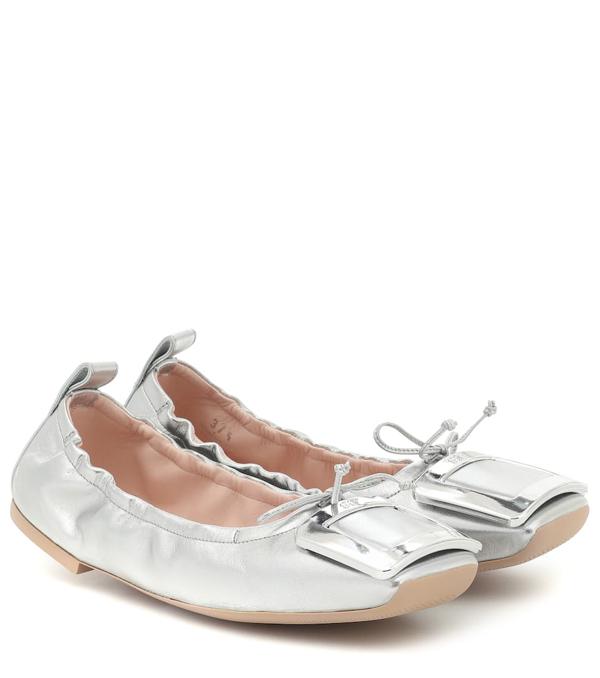 Roger Vivier Viv' Pockette Leather Ballet Flats In Silver