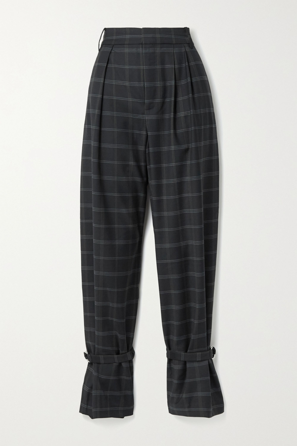 Tibi Finn Pleated Checked Twill Tapered Pants In Midnight Blue