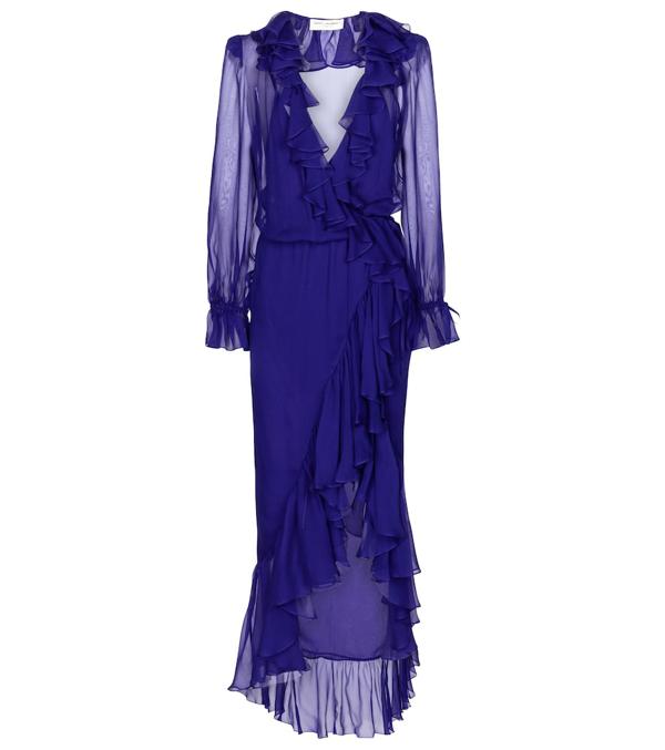 Saint Laurent Ruffled Silk-chiffon Wrap Midi Dress In Blue