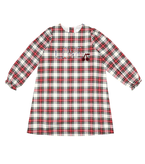Bonpoint Kids' Puzzle Checked Cotton Dress In Red